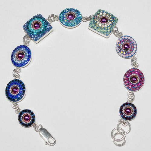 "MOSAICO BRACELET PB-8625-A: multi color Austrian crystals in 1/2"" round solid silver settings, lobster clasp"