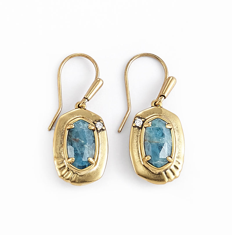 KENDRA SCOTT EAR ANNA SMALL DROP EARRING VINTAGE GOLD TEAL APATITE