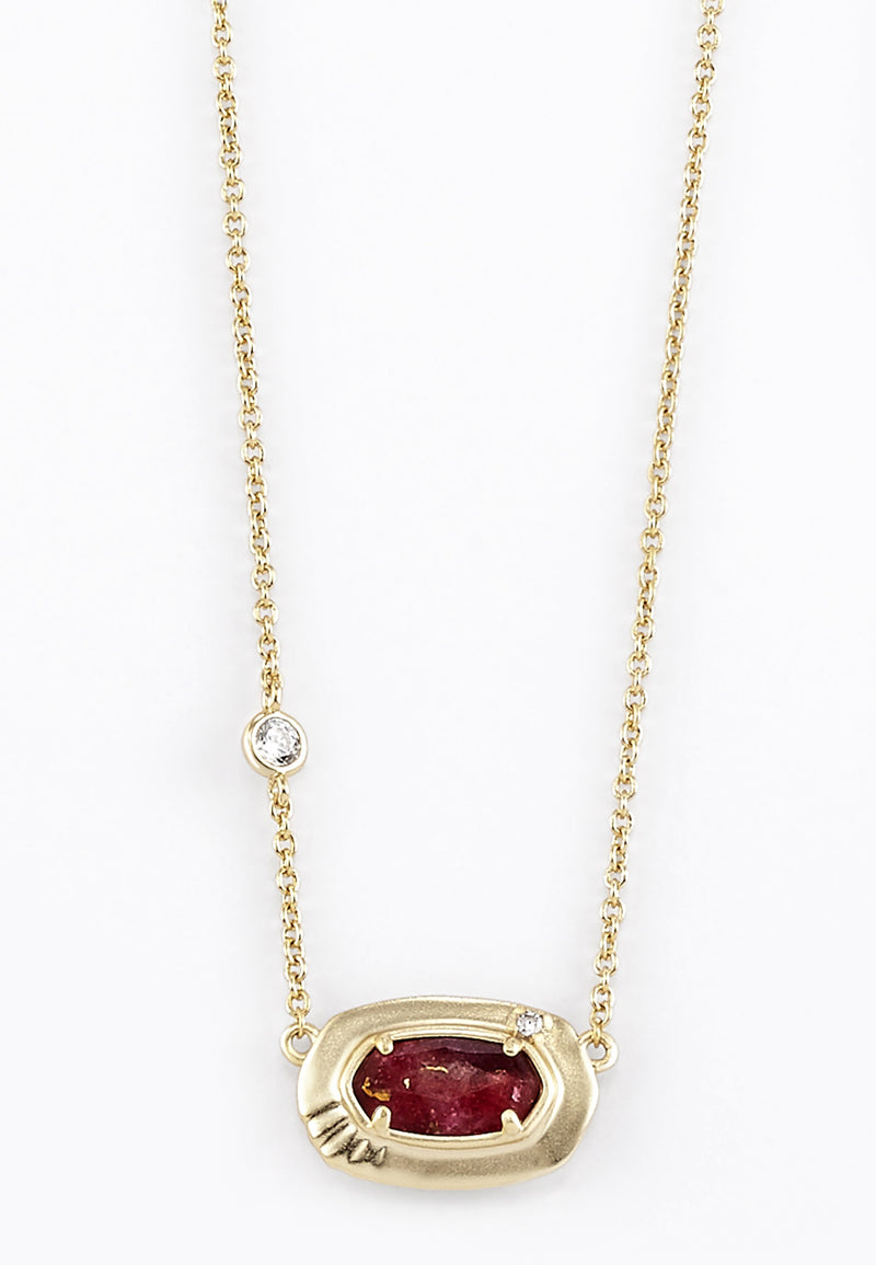 KENDRA SCOTT NECKLACE ANNA SHORT PENDANT GOLD BRONZE VEINED MAROON