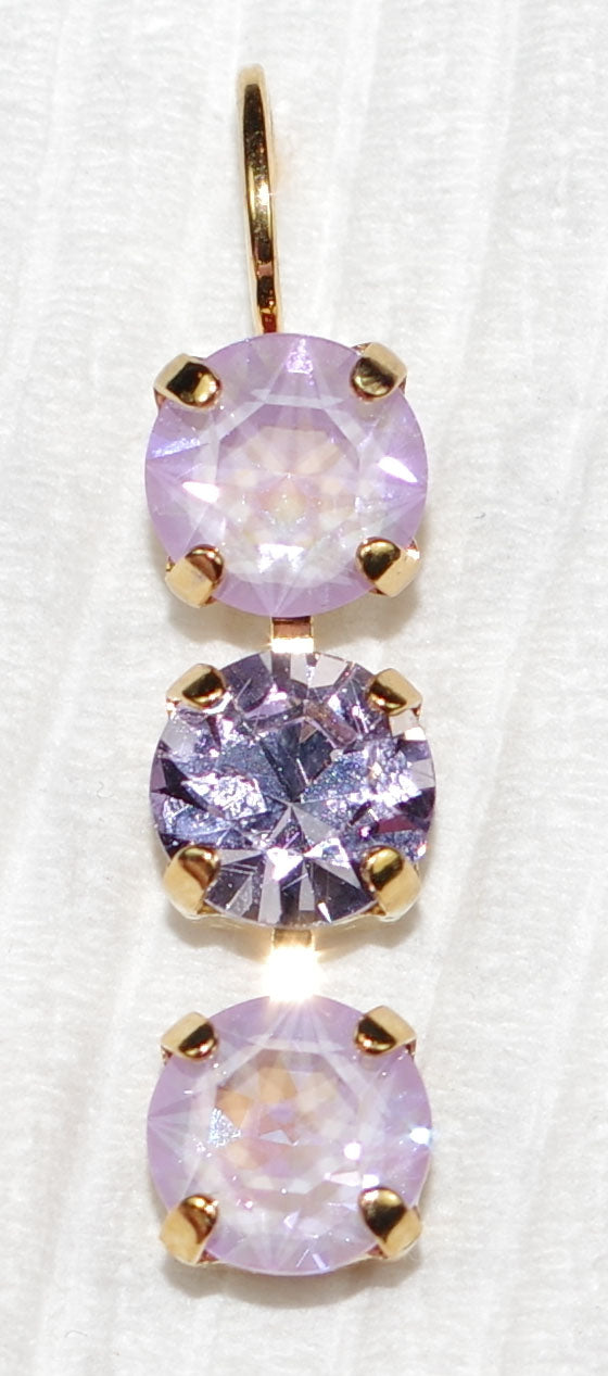 "MARIANA EARRINGS: purple, pink sun kissed stones in 1"" yellow gold setting, lever back"