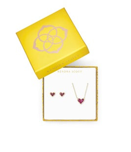 KENDRA SCOTT GIFT SET ARI HEART PENDANT & STUD EARRINGS-GOLD RASPBERRY LABRADORITE