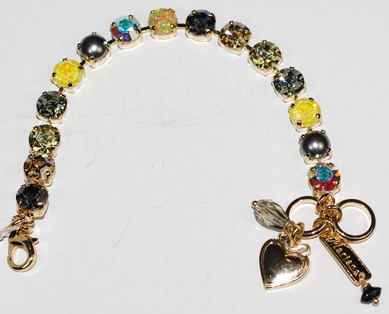 "MARIANA BRACELET BETTE PAINTED LADY: yellow, taupe, simulated opal 1/4"" stones in yellow gold setting"