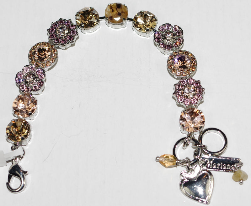 "MARIANA BRACELET MEADOW BROWN: pink, amber, cheetah stones in 1/2"" rhodium setting"
