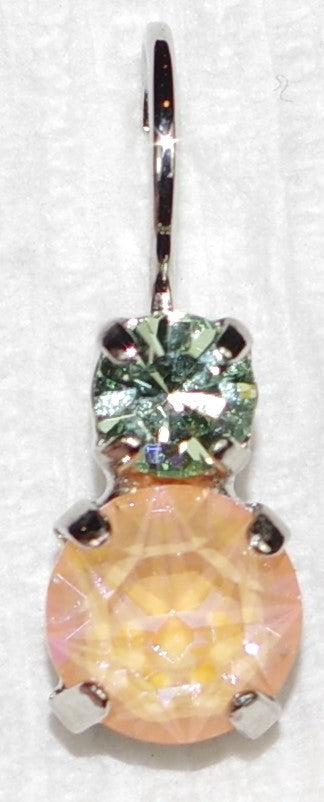 "MARIANA EARRINGS MONARCH: orange, green stones in 1/2"" rhodium setting, lever back"
