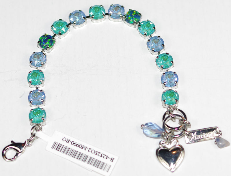 "MARIANA BRACELET BETTE SUN KISSED: blue, teal, simulated opal 1/4"" stones in rhodium setting"