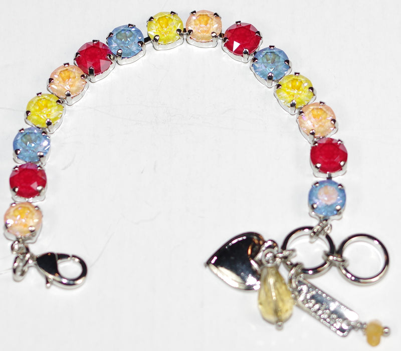 "MARIANA BRACELET BETTE SUN KISSED: red, yellow, blue, peach 1/4"" stones in rhodium setting"