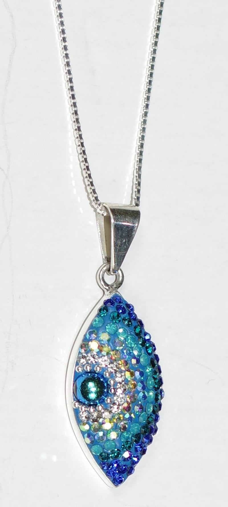 "MOSAICO PENDANT EYE-D: multi color Austrian crystals in 1"" solid silver pendant, 18-20 inch adjustable silver chain"