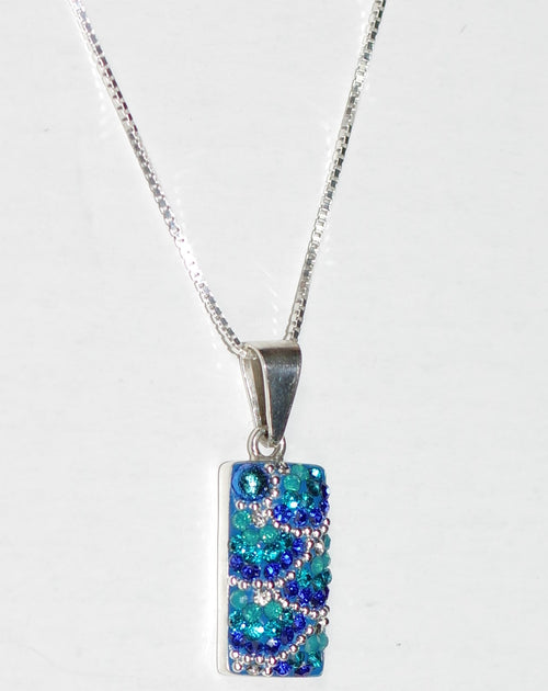 "MOSAICO PENDANT PP-8548-C: multi color Austrian crystals in 3/4"" solid silver pendant, 18-20 inch adjustable silver chain"