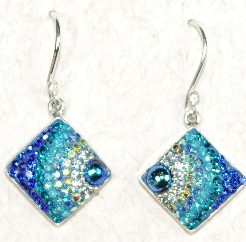 "MOSAICO EARRINGS PE-8122-D: multi color Austrians crystals in 1/2"" solid silver setting, french wire backs"