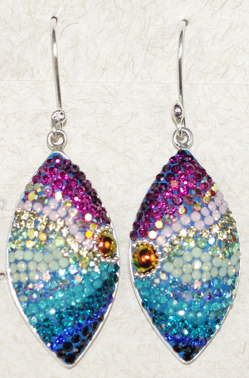"MOSAICO EARRINGS LARGE EYE-A: multi color Austrians crystals in  1.25"" solid silver setting, french wire backs"