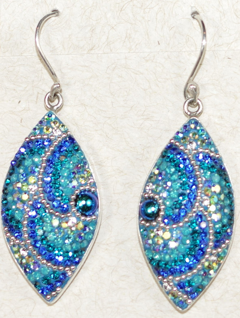 "MOSAICO EARRINGS LARGE EYE-E: multi color Austrians crystals in  1.25"" solid silver setting, french wire backs"