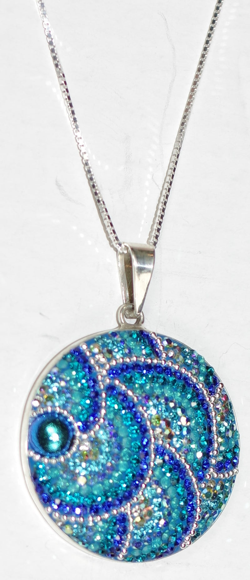"MOSAICO PENDANT JUMBO ROUND-C: multi color Austrian crystals in 1.25"" solid silver pendant, 18-20 inch adjustable silver chain"