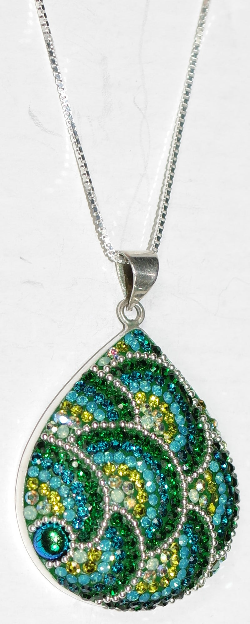 "MOSAICO PENDANT PP-8678-E: multi color Austrian crystals in 1.5"" solid silver pendant, 18-20 inch adjustable silver chain"