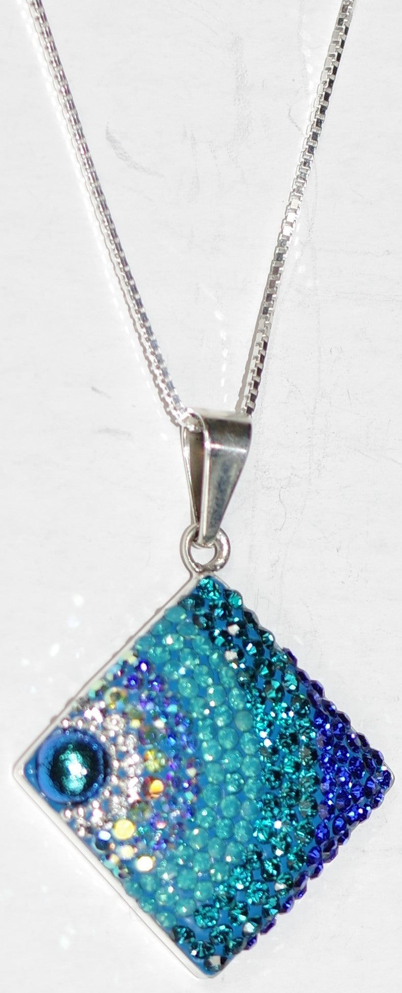 "MOSAICO PENDANT JUMBO SQUARE-D: multi color Austrian crystals in 1"" solid silver pendant, 18-20 inch adjustable silver chain"