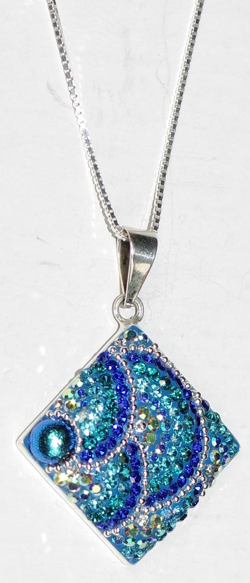 "MOSAICO PENDANT JUMBO SQUARE-C: multi color Austrian crystals in 1"" solid silver pendant, 18-20 inch adjustable silver chain"