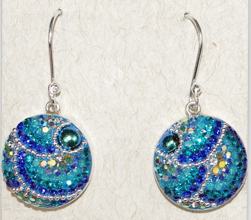 "MOSAICO EARRINGS ROUND-C: multi color Austrians crystals in 3/4"" solid silver setting, french wire backs"
