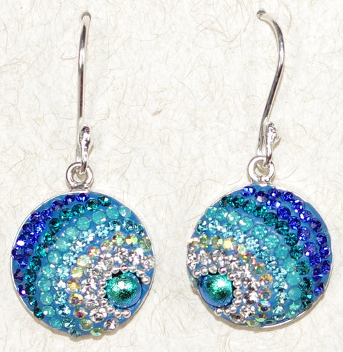 "MOSAICO EARRINGS ROUND-D: multi color Austrians crystals in 3/4"" solid silver setting, french wire backs"