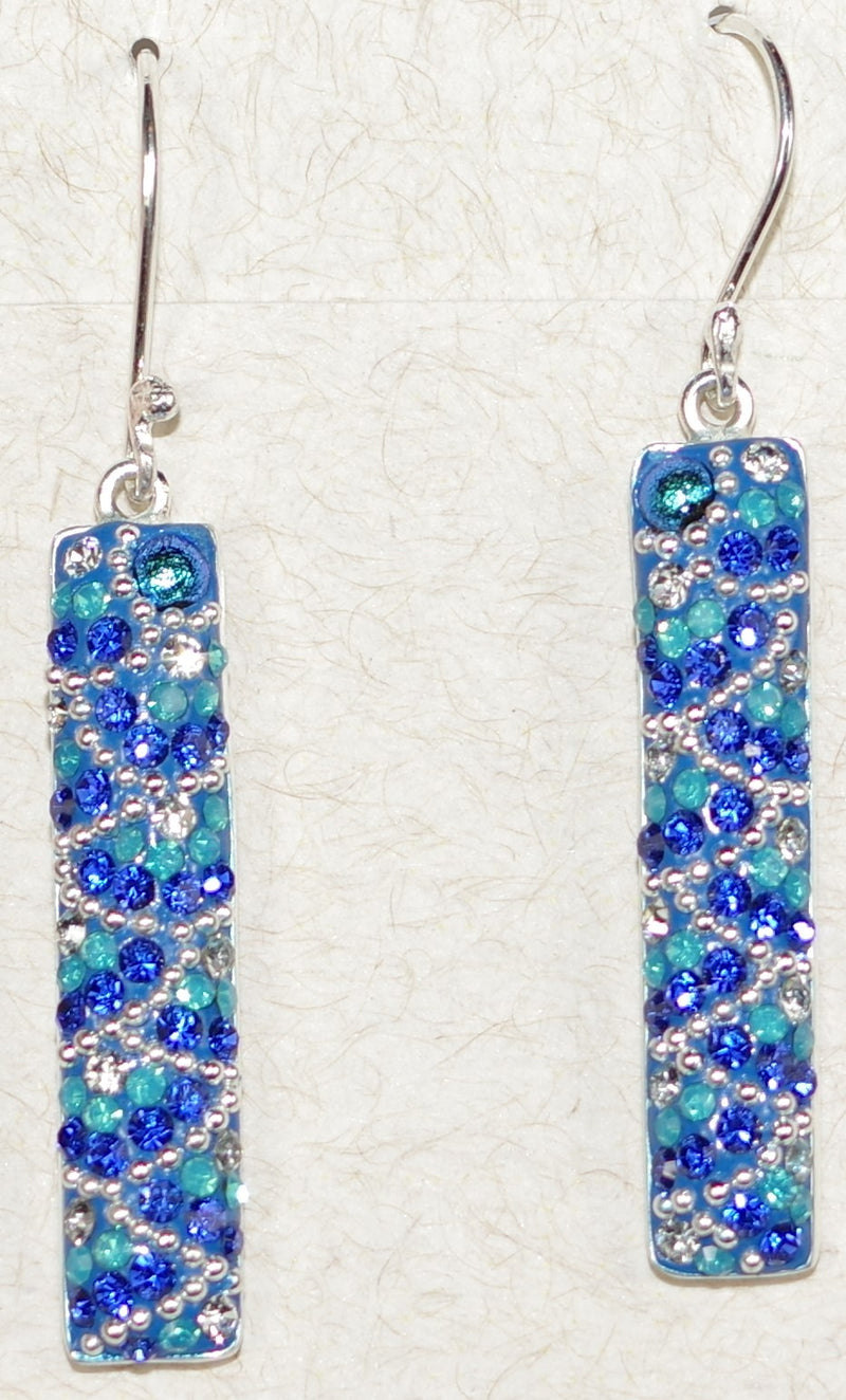 "MOSAICO EARRINGS PE-8129-C: multi color Austrians crystals in 1.25"" solid silver setting, french wire backs"