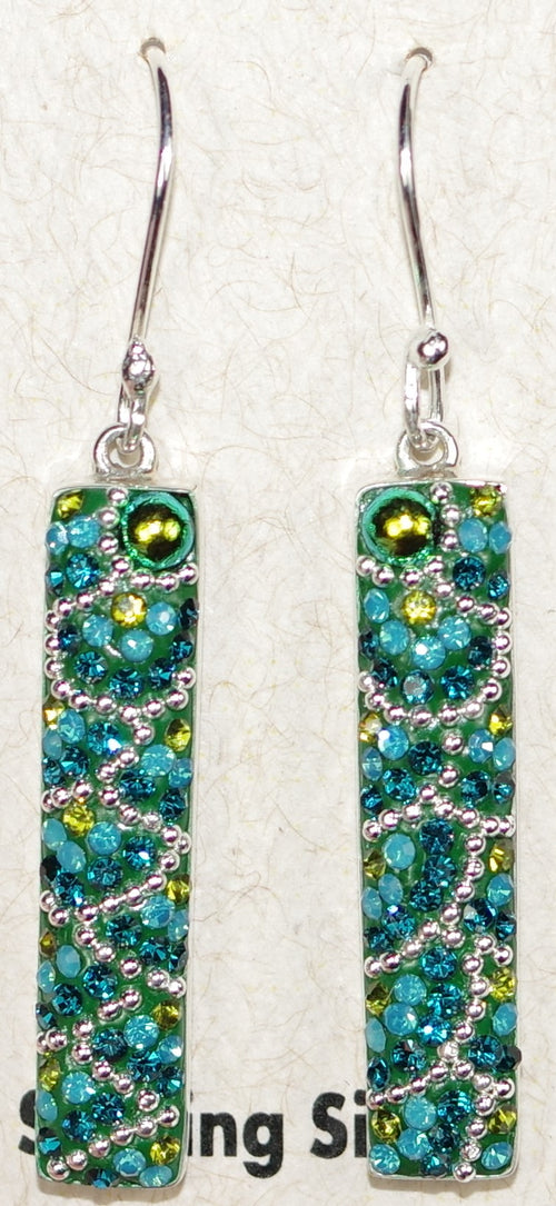 "MOSAICO EARRINGS PE-8129-E: multi color Austrians crystals in 1.25"" solid silver setting, french wire backs"
