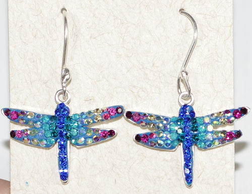 "MOSAICO EARRINGS PE-8138-A: multi color Austrians crystals in  3/4"" solid silver setting, french wire backs"