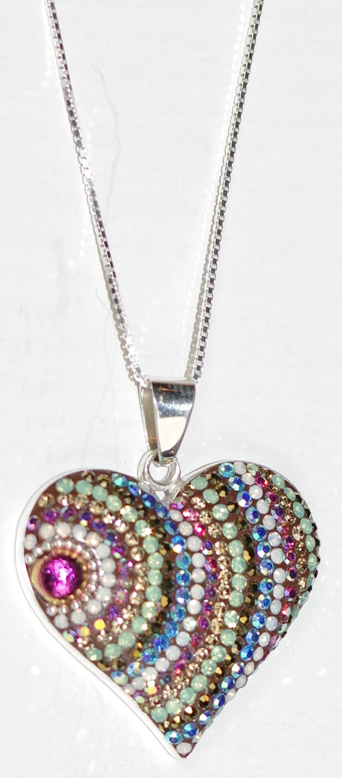 "MOSAICO PENDANT PP-8682-J: multi color Austrian crystals in 1"" solid silver pendant, 18-20 inch silver chain"