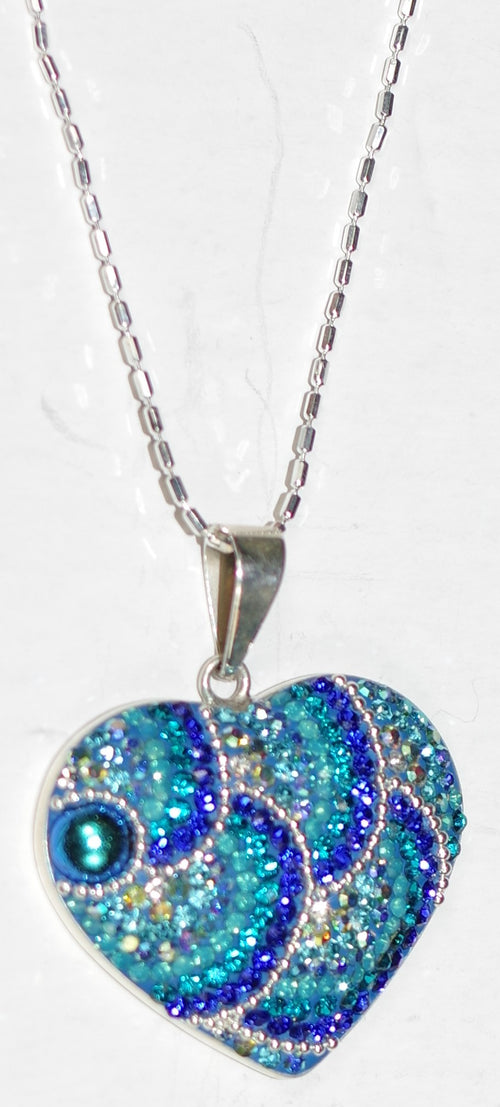 "MOSAICO PENDANT PP-8682-C: multi color Austrian crystals in 1"" solid silver pendant, 18-20 inch silver chain"