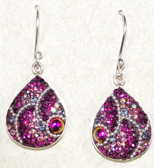 "MOSAICO EARRINGS PE-8526-B: multi color Austrians crystals in 3/4"" solid silver setting, french wire backs"