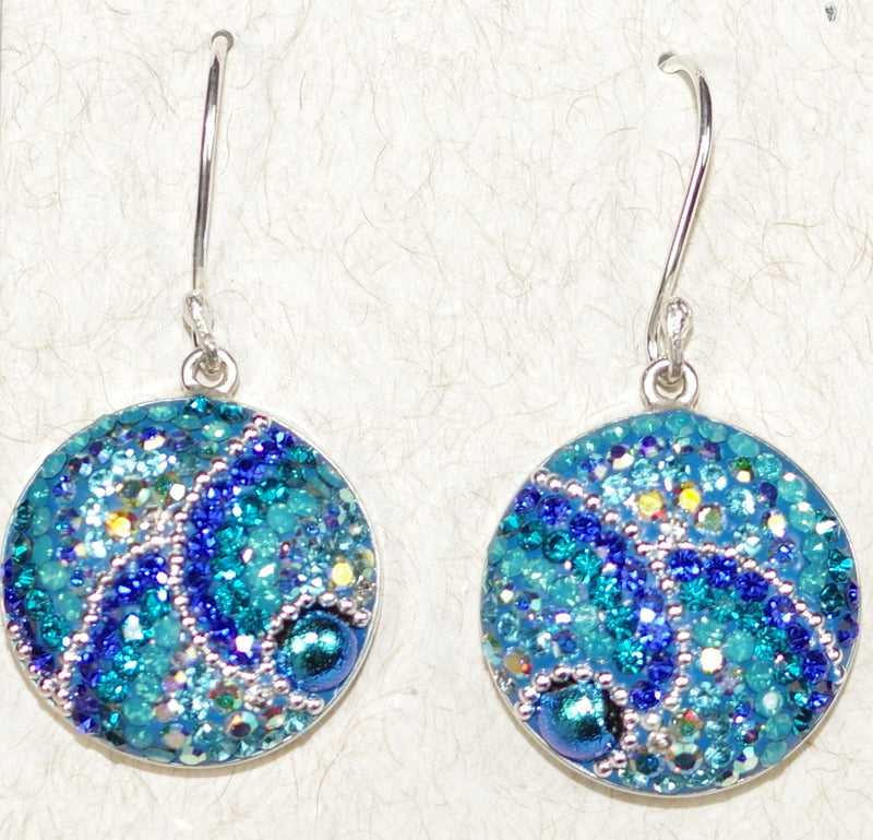 "MOSAICO EARRINGS LARGE ROUND C: multi color Austrians crystals in 3/4"" solid silver setting, french wire backs"