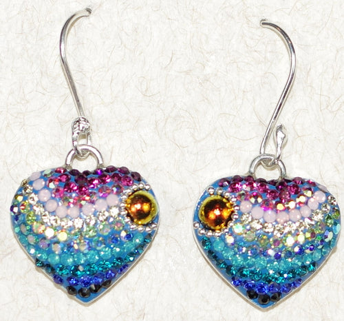 "MOSAICO EARRINGS HEART-A: multi color Austrians crystals in 3/4"" solid silver setting, french wire backs"
