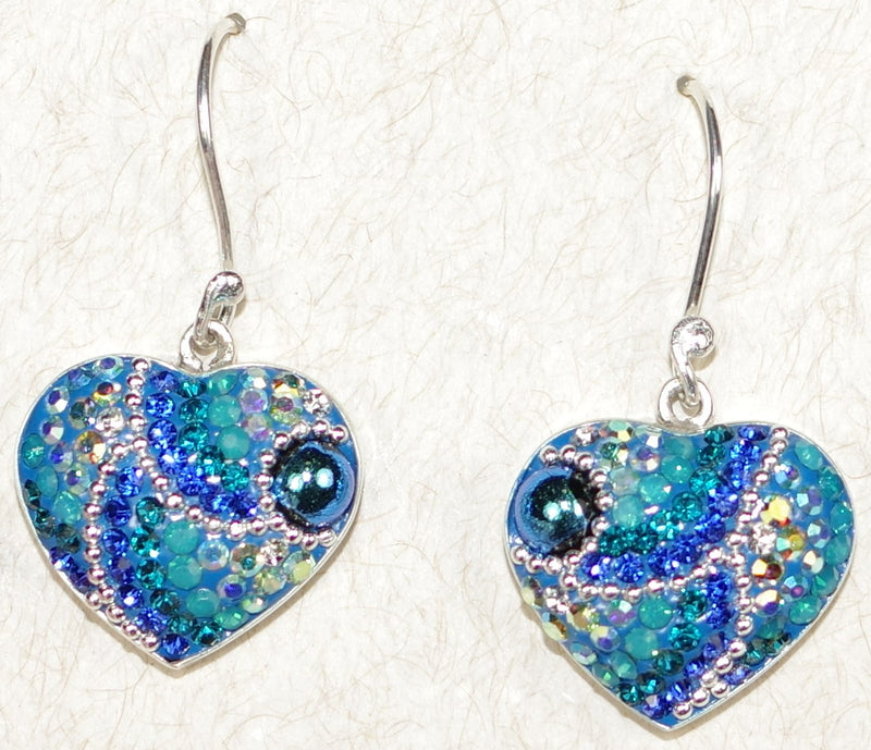 "MOSAICO EARRINGS HEART-C: multi color Austrians crystals in 3/4"" solid silver setting, french wire backs"