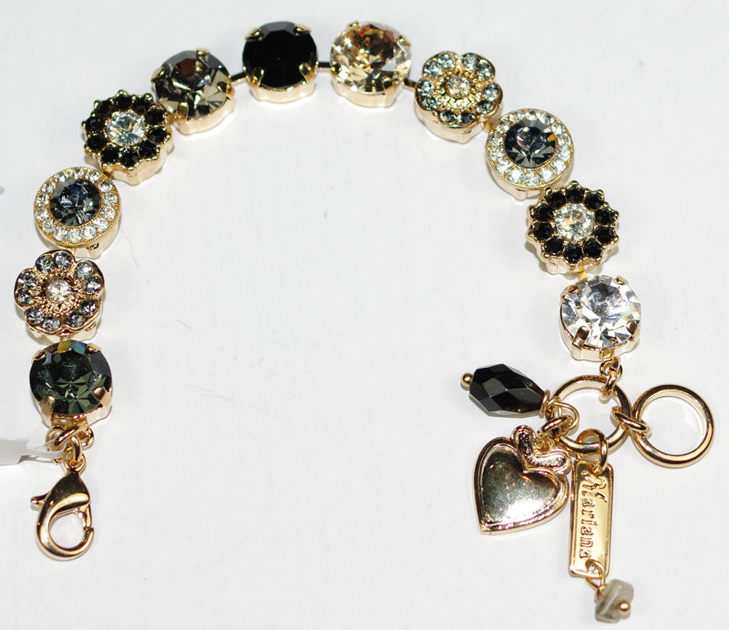 MARIANA BRACELET BLACK ORCHID: amber, black, grey, clear stones in yellow gold setting