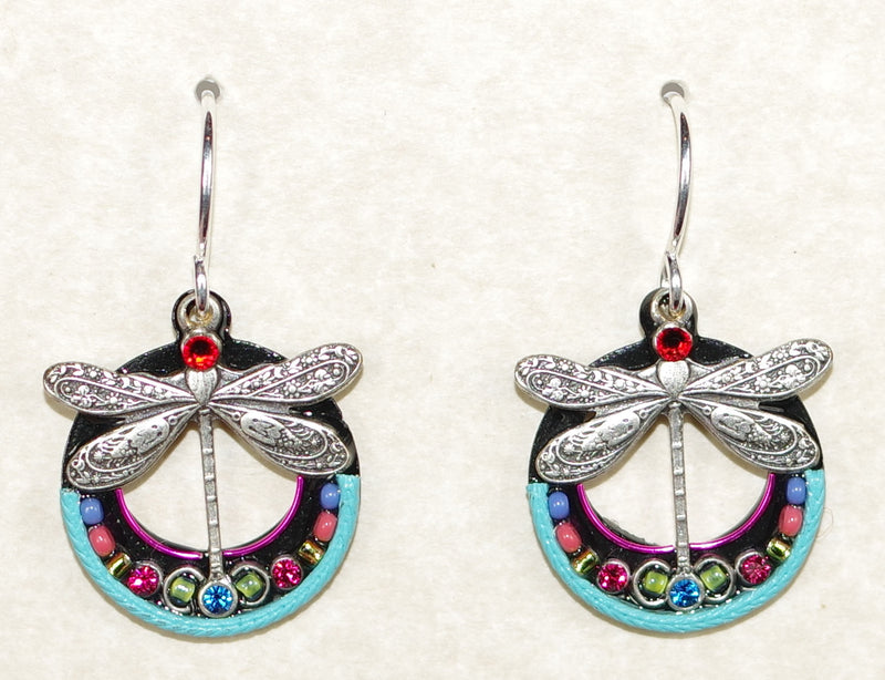 "FIREFLY EARRINGS DRAGONFLY HOOP MC: multi color stones in 3/4"" silver setting, wire backs"