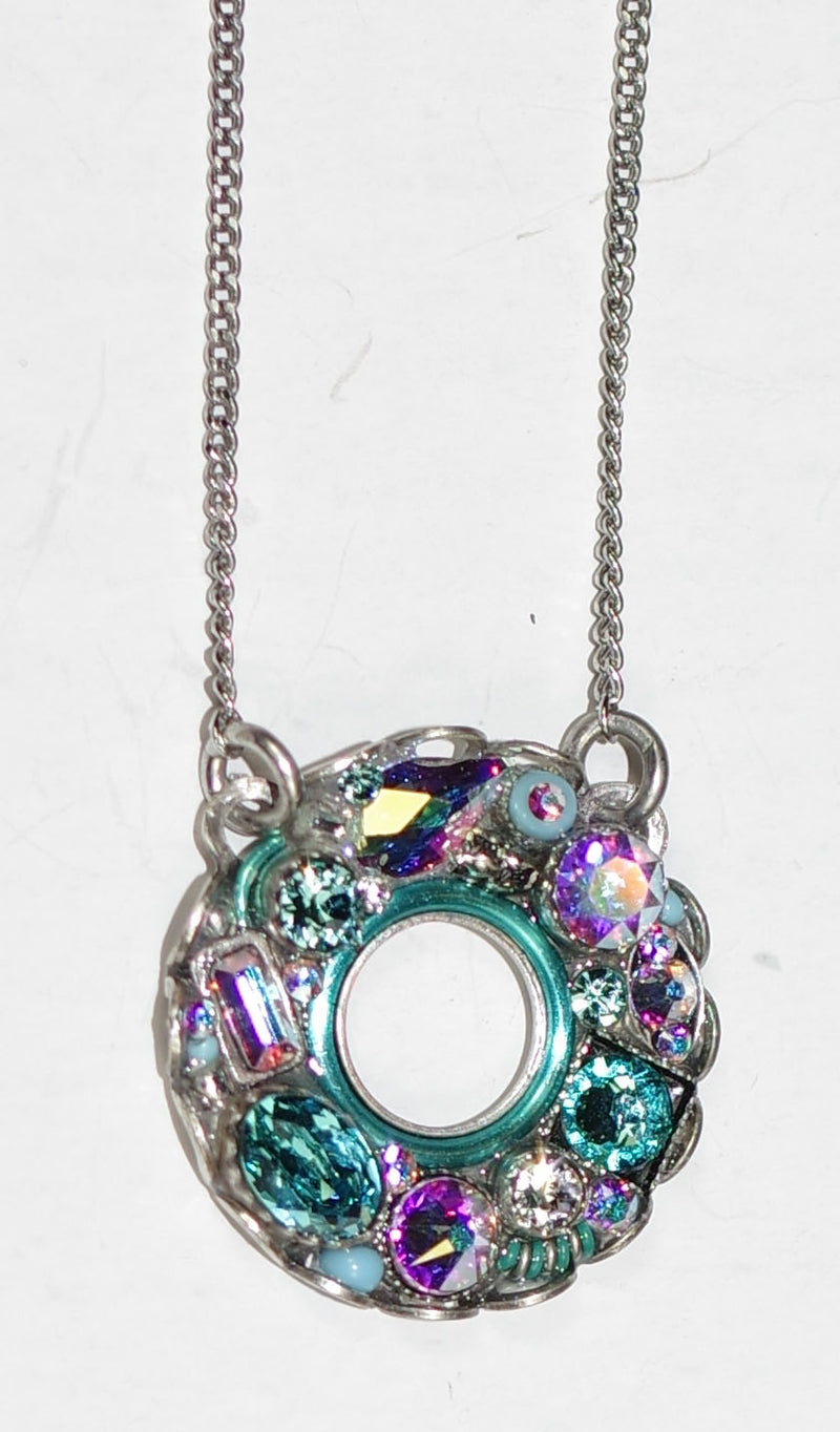"FIREFLY NECKLACE BEJEWELED CIRCLE ICE: multi color stones in 3/4"" pendant, silver 17"" adjustable chain"