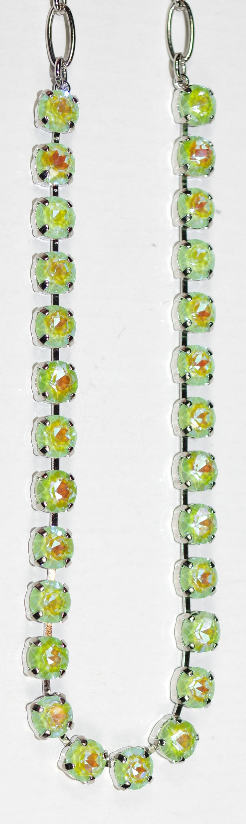 "MARIANA NECKLACE BETTE SUN KISSED: light green 1/4"" stones in silver rhodium setting, 17"" adjustable chain"