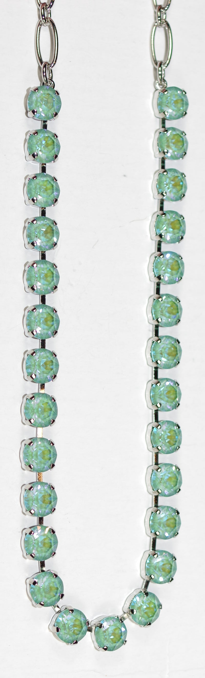 "MARIANA NECKLACE BETTE SUN KISSED: blue/green 1/4"" stones in silver rhodium setting, 17"" adjustable chain"