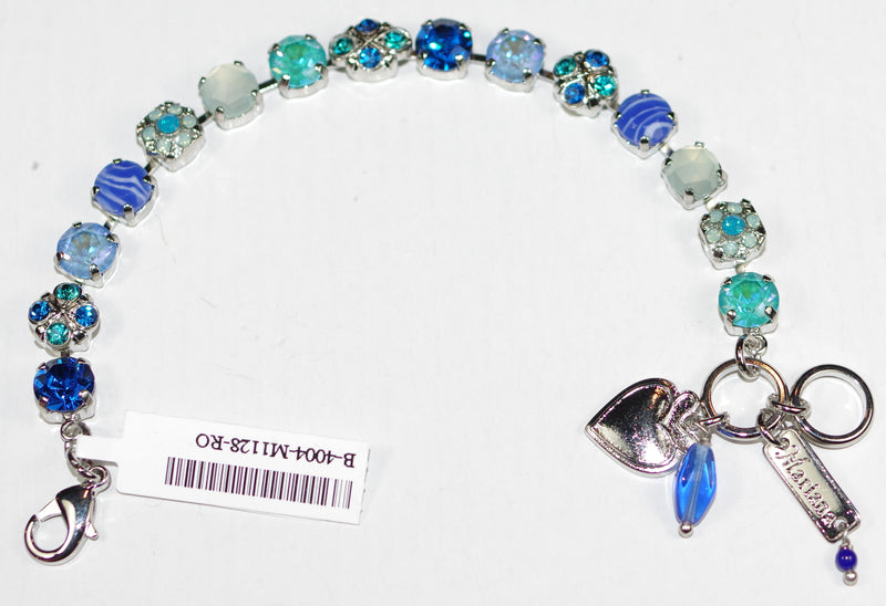 MARIANA BRACELET SERENITY: blue, teal, pacific opal, sun kissed stones in silver rhodium setting