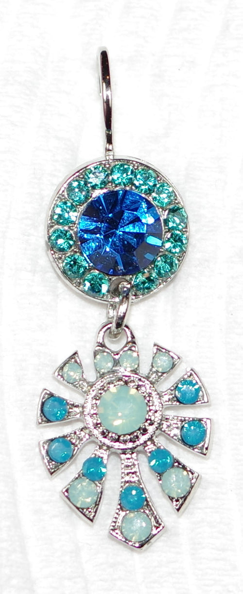 "MARIANA DUNAWAY EARRINGS SERENITY: blue, teal, pacific opal stones in 1"" silver rhodium setting, lever back"