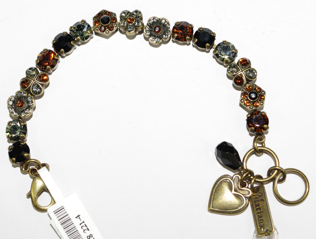 MARIANA BRACELET CAFE OLE: brown, green, black, topaz stones in antique gold setting