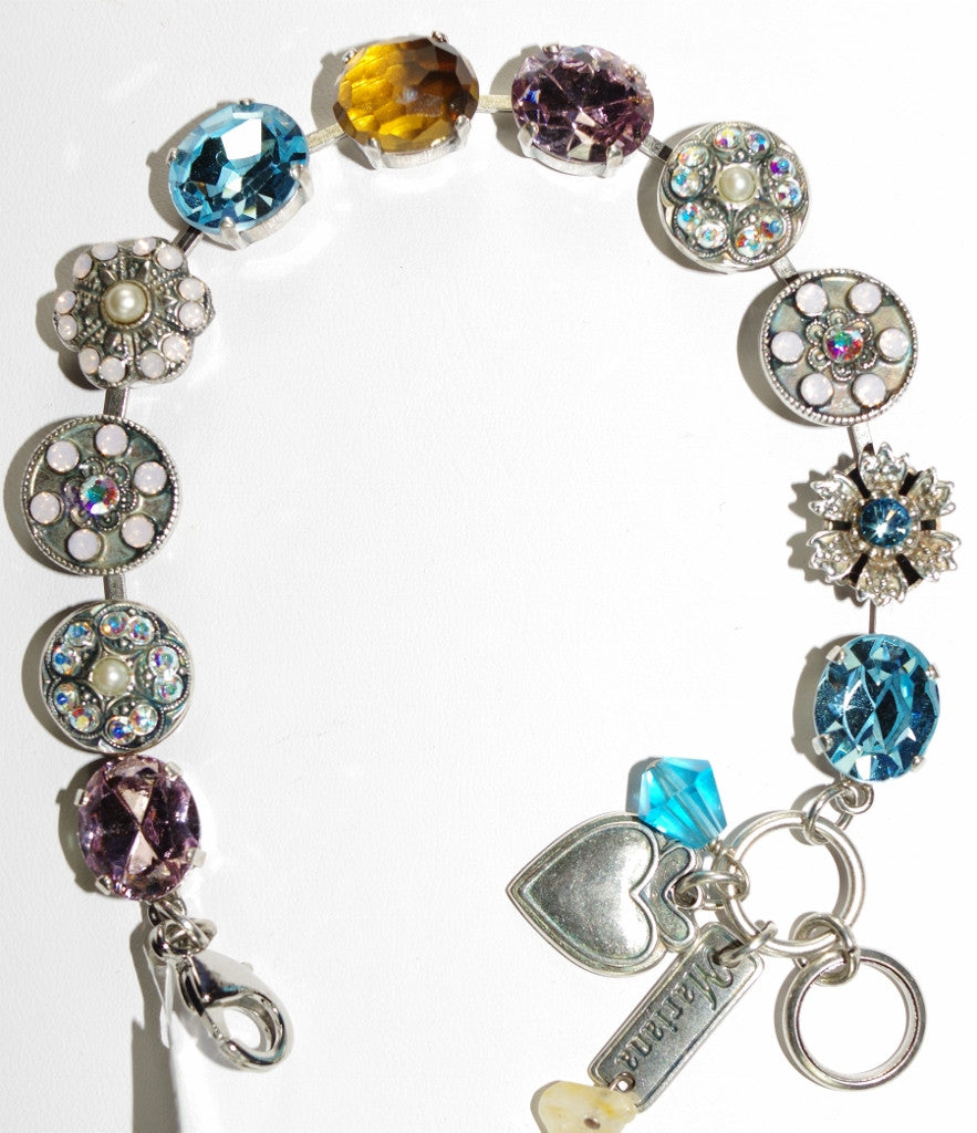MARIANA BRACELET COCO: pale pink, topaz, brown, white stones in a silver setting
