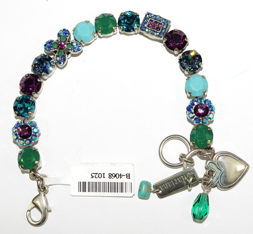 MARIANA BRACELET INSPIRE: purple, turq, green, a/b, blue stones in silver setting