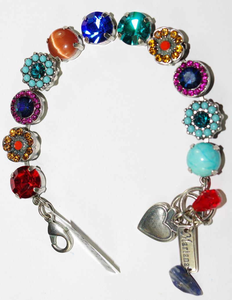 MARIANA BRACELET FANTASY SOPHIA: red, blue, turq, amber, green stones in silver setting