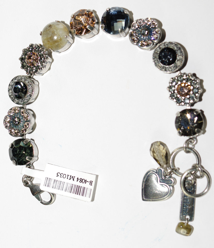 MARIANA BRACELET LUXURY: blue, amber, taupe stones in silver setting