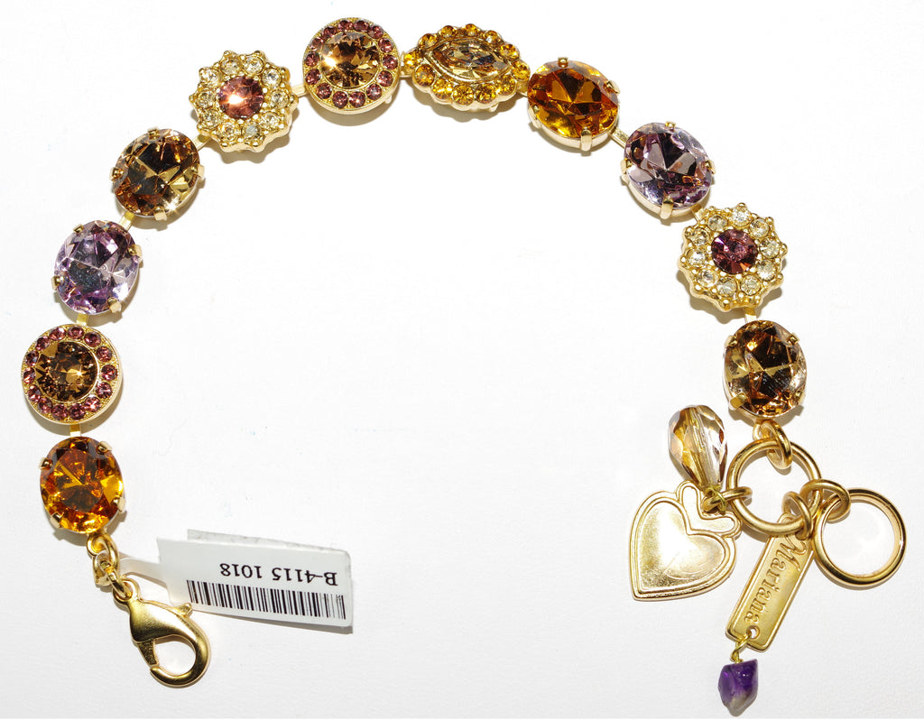 MARIANA BRACELET DREAM pink, amber, topaz clear stones in yellow gold setting
