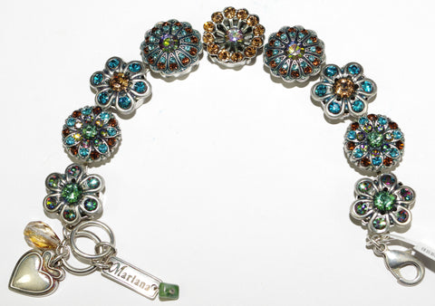 MARIANA BRACELET AFTER MIDNIGHT: amber, teal, green stones in silver setting