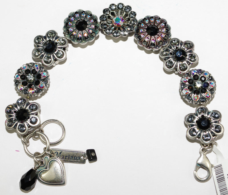MARIANA BRACELET TUXEDO: black, a/b, taupe stones in silver setting