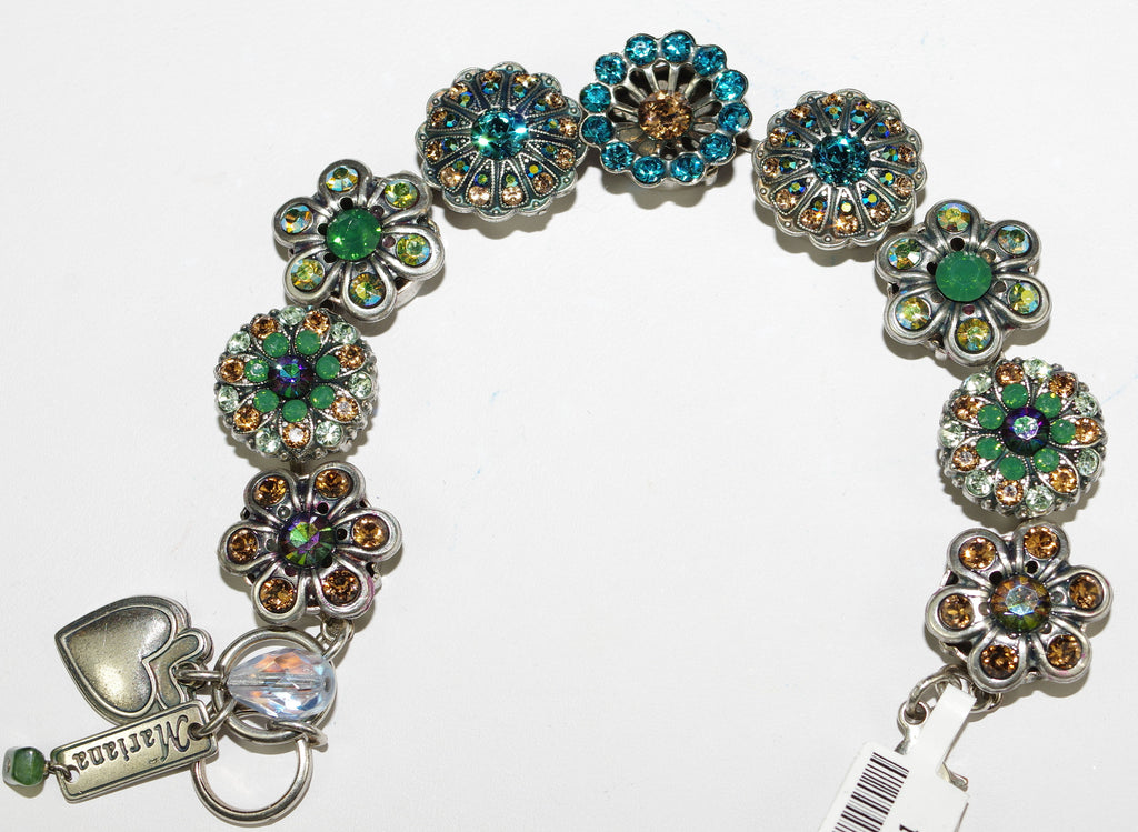 MARIANA BRACELET HARMONY: amber, teal, green, a/b stones in silver setting