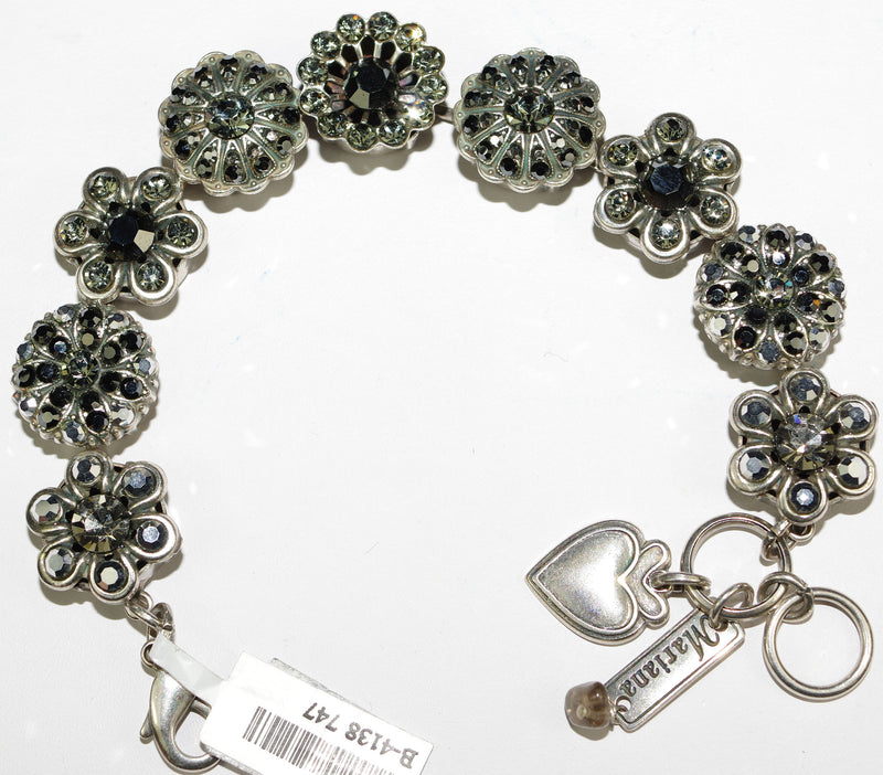 MARIANA BRACELET BLACK DIAMOND: clear, black, taupe, stones in silver setting