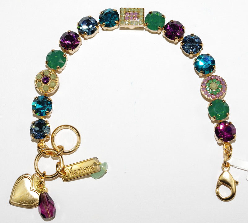 MARIANA BRACELET PATIENCE: blue, green, purple stones in yellow gold setting