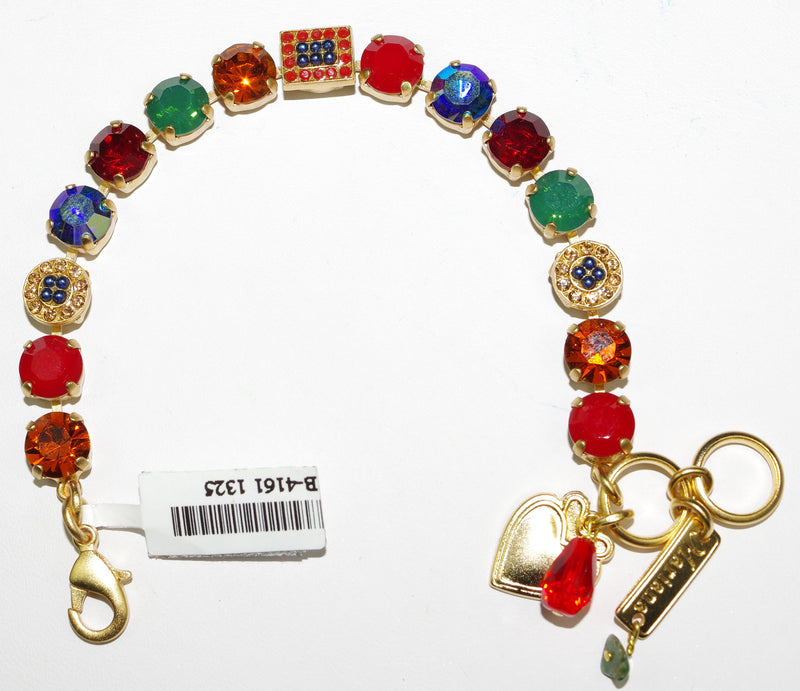 MARIANA BRACELET POPPY: red, blue, green, amber stones in yellow gold setting