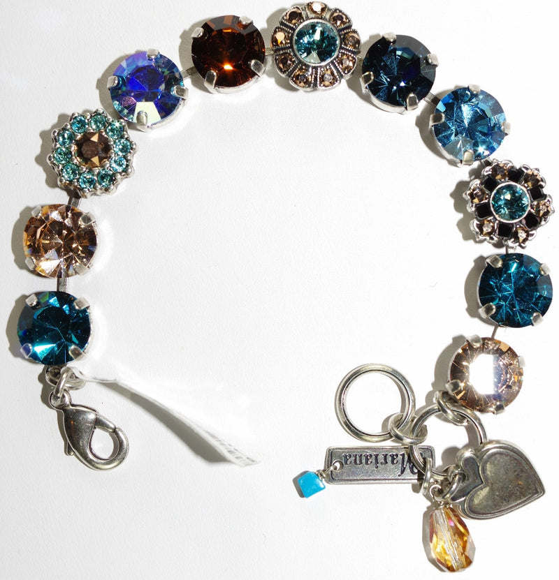 MARIANA BRACELET BLUE SUEDE SHOES: topaz, blue, gold, brown stones in a silver setting